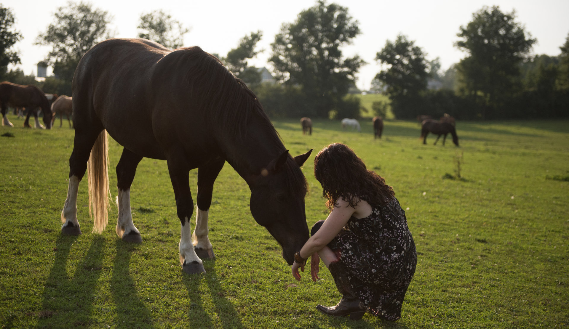 Sarah Schlote kneeling in front of a horse.